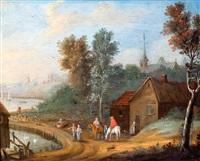 wandelaars en ruiters aan rivieroever bij een stad by jan frans van bredael the elder