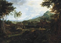 an italianate wooded river landscape with travellers on a track and figures at rest on the bank, mountains beyond by johannes (jan) glauber