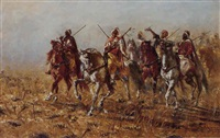 a gathering of arab horsemen by heinrich maria staackmann