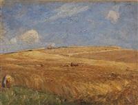 landschaft mit kornfeld by gustav kampmann