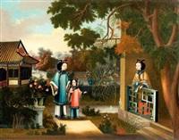 jeune femme s'accoudant sur und bulustrade et regardant une femme avec enfant dans un jardin by chinese school-canton (19)