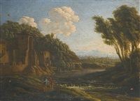 an arcadian river landscape with figures walking along a path and a fisherman by italian school-roman (17)