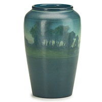 banded scenic vase by lenore asbury