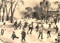 skaters, lachine, quebec by henry john simpkins