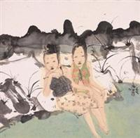 溪畔春光 by liu qinghe