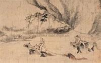 浴马图 (bathed horse) by liao chengzhi