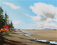 beach harmony (looking north toward denman island from qualicum beach) by allan dunfield