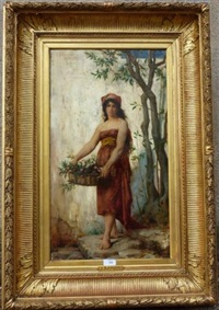 jeune italienne au panier de fleurs by fernand lematte