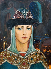 princess evdokija in the temple by ilya glazunov