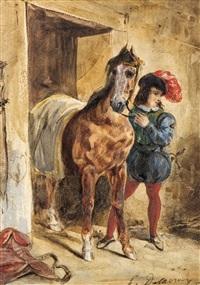 jeune page et son cheval by eugène delacroix