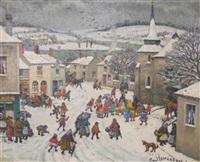 dimanche place de village animée sous la neige by jean paul lemasson