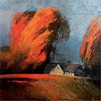 日落下的树和房子 by anonymous-russian
