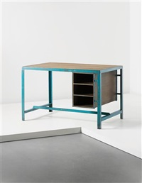 architect's office desk, model no. pj-tat-12-a, designed for the architectural classroom, chandigarh by a. r. prabhawalkar and pierre jeanneret