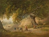 baumbestandene landschaft mit rastenden personen by richard wilson