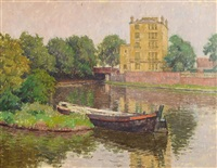 boat on the canal by kalman kemeny