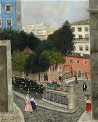 rua típica de lisboa com figuras, varina e o pai do artista by francis smith