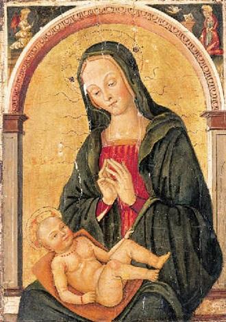 the madonna and child in a niche with the annunciation in the spandrels by antonio massari da viterbo