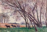 attelage dans le champ en bord de loire a saint-ay by maximilien luce