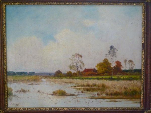 paysage de rivière by adrien jacques sauzay