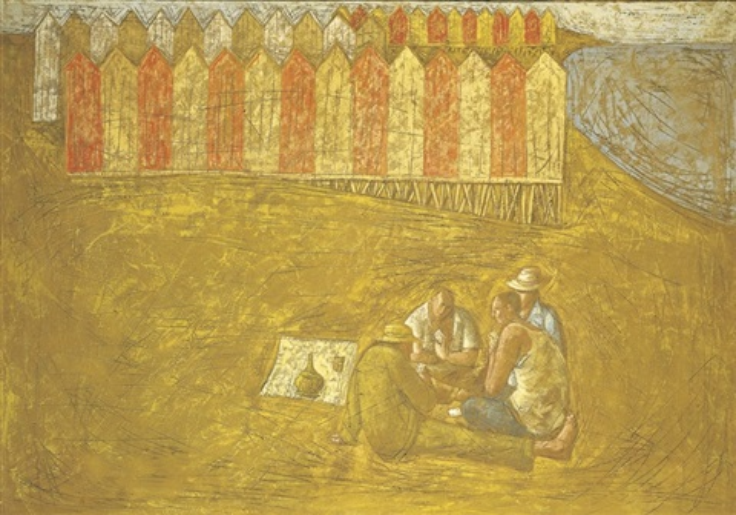 giocatori di carte sulla spiaggia by domenico gnoli