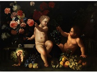 blumen- und früchtestilleben mit zwei knäblein by franz werner von tamm and guillaume courtois