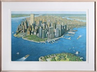 manhattan view from governor's island, color by richard haas