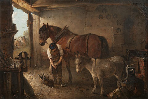 a farrier shoeing a plough horse with a donkey in a forge interior by edward robert smythe