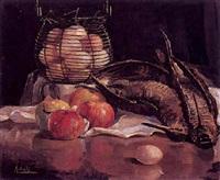 bodegón con perdices, manzanas y huevera by andres apellaniz