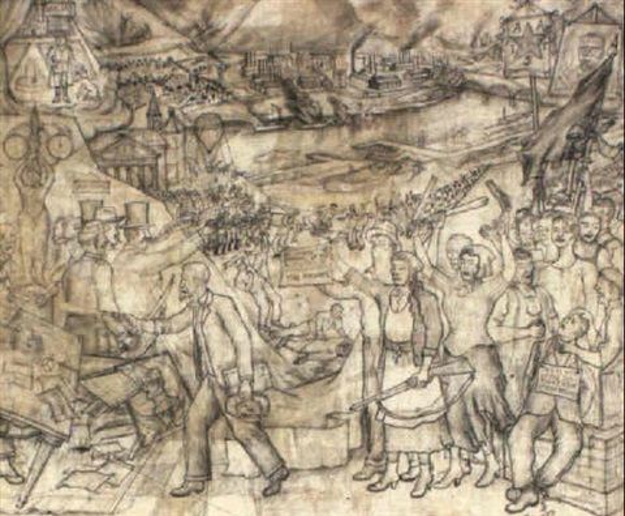Proyecto para el mural huelga de homestead by juan o for Mural de juan o gorman