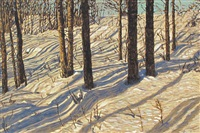 poplars in the snow n.2 by herbert otto sellin