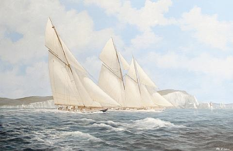 britannia and cicely racing in the solent off the needles by john j holmes