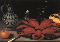 crayfish on a pewter plate, with dishes, bread and an orange on a table by philips angel