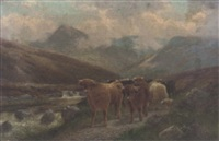 highland cattle by the beauly river, invernesshire by albert dunington