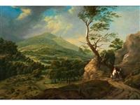 weite, bergige landschaft mit reitergruppe by johann (jan) christian vollerdt