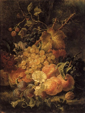a still life with grapes prunes and peaches by moise jacobber