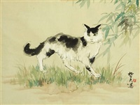 the songs of frogs break the silence of the lily pond (+ a cat; 2 works) by chitfu yu
