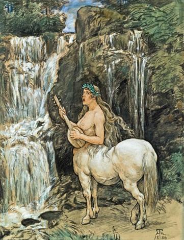 weiblicher kentaure an einem wasserfall by hans thoma