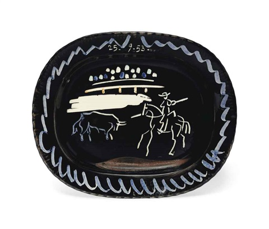 corrida sur fond noir by pablo picasso