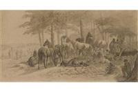 rastende soldaten mit ihren pferden am waldrand by franz adam