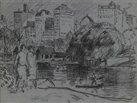 the lake, central park, new york * strolling (2 works) by gifford beal