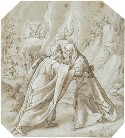 die begegnung von joachim und anna im hintergrund ein engel der dem knienden joachim die geburt des kindes verkündet by lazzaro tavarone