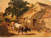cattle and a cow dog before a barn by robert hills