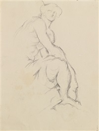mercure assis & adonis (double-sided) by paul cézanne