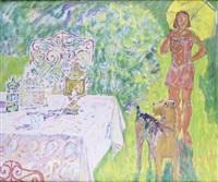 jeune femme et son chien by konstantin bourov