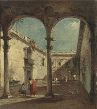 a courtyard with elegantly dressed figures by francesco guardi