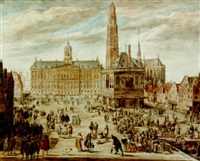 a view of the dam with the waag and the royal palace, and the projected tower of the nieuwe kerk beyond by willem stad