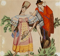 two figures in russian folk costumes by sergei yur'evich sudeikin