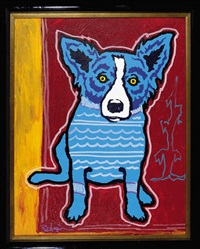 blue dog with cypress tree by george rodrigue