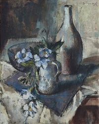 still life with flowers and vessels by irmin henkel