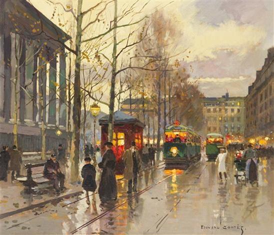 street scene paris by edouard léon cortès